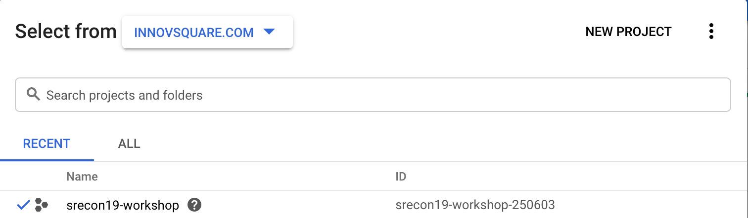 Google Cloud Select Project